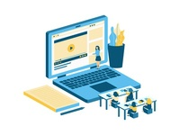 lsometric Illustration - Online Class