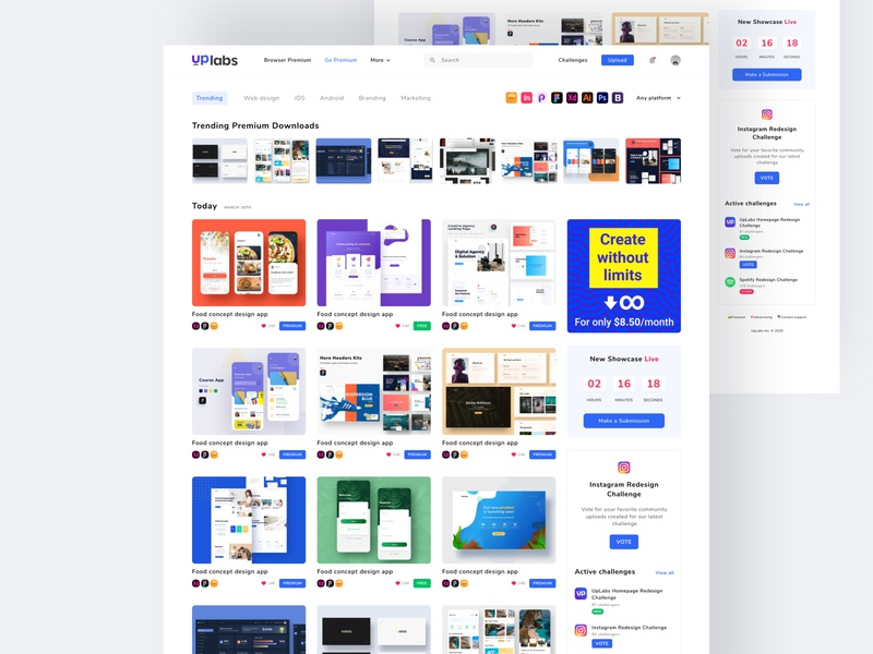 Uplabs Homepage Redesign Challenges challenges redesign branding figma landing page web design web design uiux ux ui ui ux