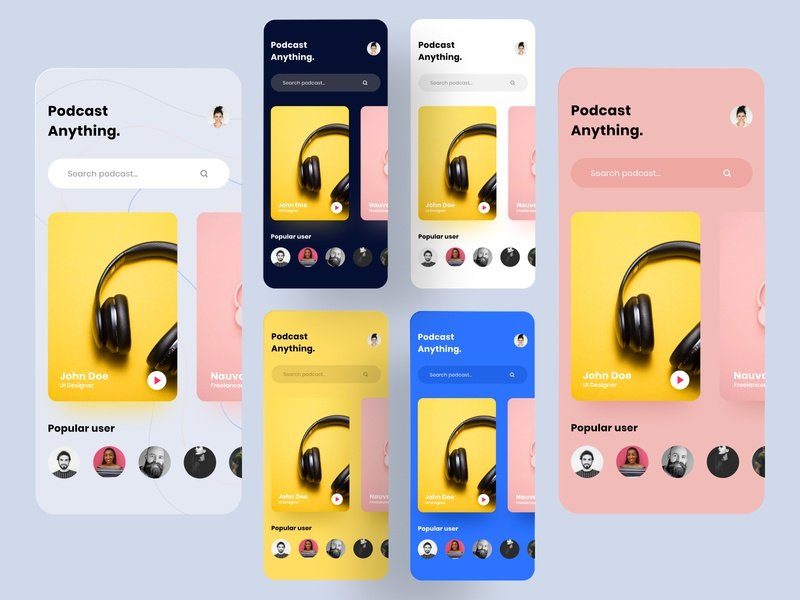 Podcast mobile app exploration mobile app podcast figma design ux ui uiux ui ux