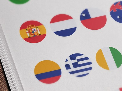 Flat Teams Flags 2014 World Cup Brazil