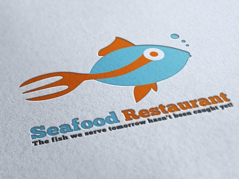 Seafood Restaurant Logo blue catchy color cool creative deep elegant fish font food logo modern professional restaurant sea seafood stylish unique business variations