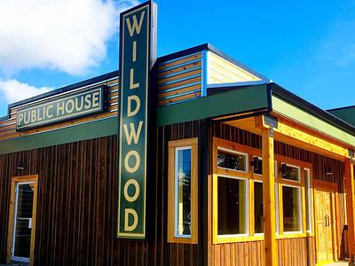 Signage Design: Wildwood Public House, Powell River, BC logo malcontent creative victoria bc signage wildwood pub jesse ladret powell river typeography design vancouver island branding