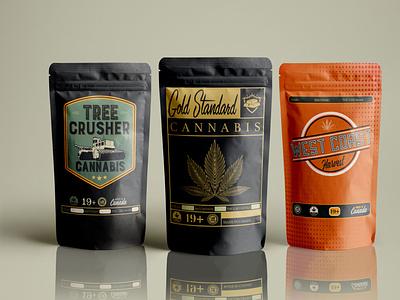 Package Design: Gold Standard Edibles, Mackenzie, BC treecrusher package design malcontent creative jesse ladret cannabis packaging vector logo design branding print