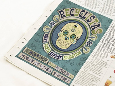 Advertisement Desig: Recyclistas Bicycle Shirt illustration logo vancouver island victoria bc typeography type print branding newspaper advertisment reyclistas bicycle