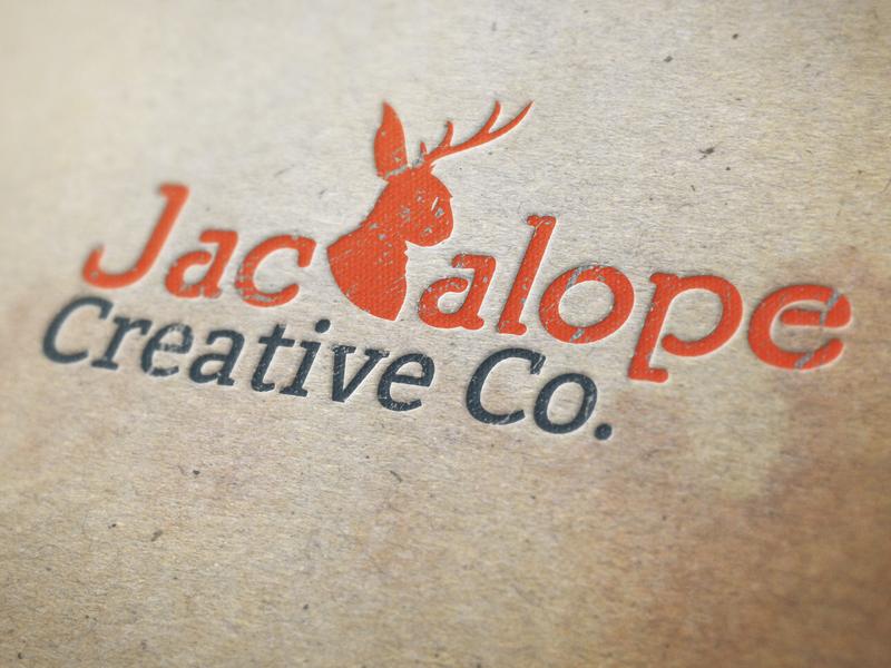 Logo Design: Jackalope Creative Co. business card graphic  design design canada print vector illustration vancouver island branding design orange malcontent creative jesse ladret victoria bc logo design typeography type logo branding jackelope jackalope