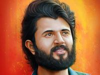 Vijay Deverakonda Portrait Painting adobe digital paint illustration painting portrait dribbble people photoshop drawaing digital 2d