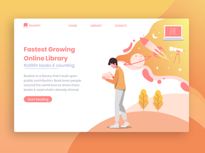 Online Library Landing Page landing page design landingpage landing page book library dailyui 004 gradient gradient design dailyui 100daysofui 100dayschallenge