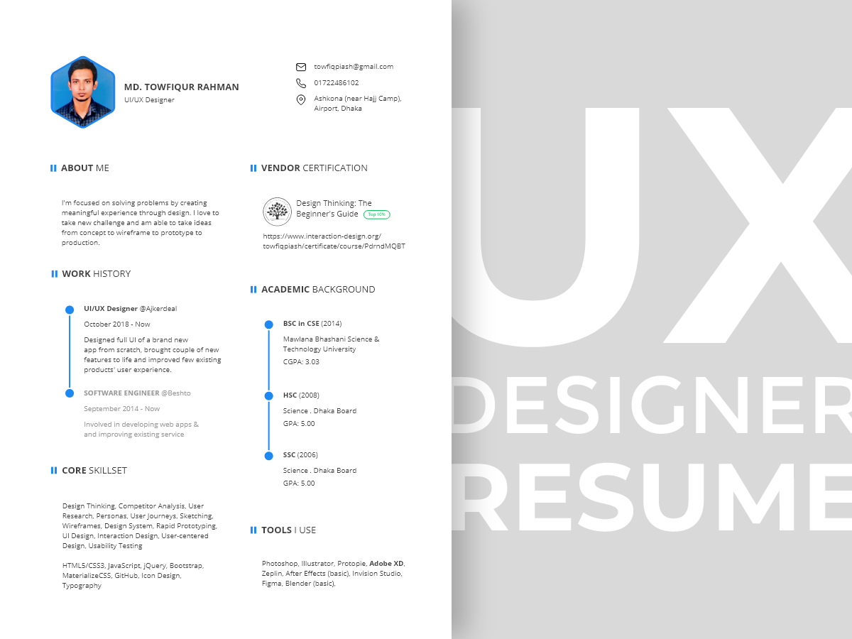 Ux Designer Resume Template By Towfiq Piash On Dribbble