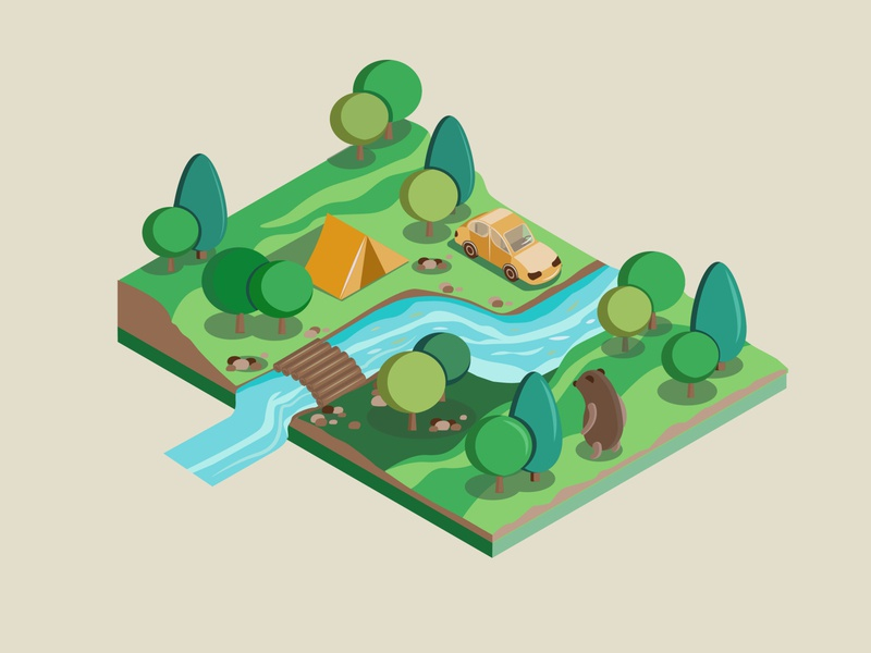 Camping isometric design isometric illustration river tent car nature vector camping isometry