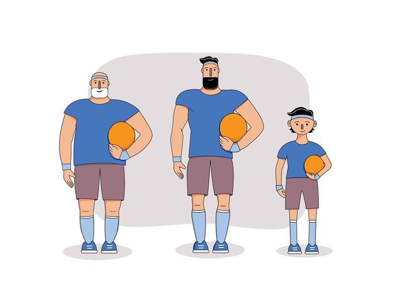 One character in 3 ages illustration vector footballer football characterdesign character