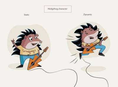 Hedgehog character vector illustration rocker hedgehog characterdesign character