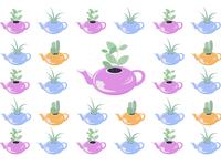 Home plants in Tea Pots Pattern