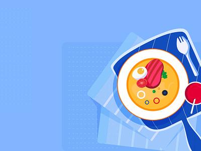 Food restaurant eat app ui drawing design illustration