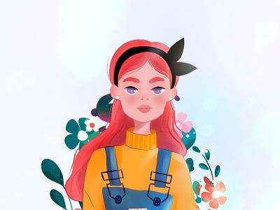 Flower girl digital painting digitalart ui minimalism drawing design illustration