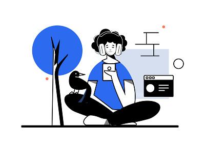 Music draw tree music girl graphicdesign digitalart ui behance dribbble drawing design illustration