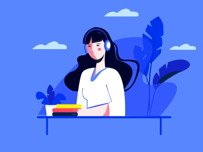 support illustration blue flat ux icon vector app minimalism illustration drawing design