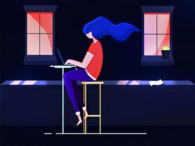 Girl with laptop isometric icon flat vector ui app minimalism illustration drawing design
