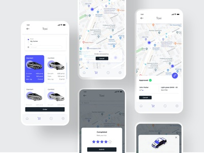 Taxi Service website isometric blue icon ux ui app illustration drawing design