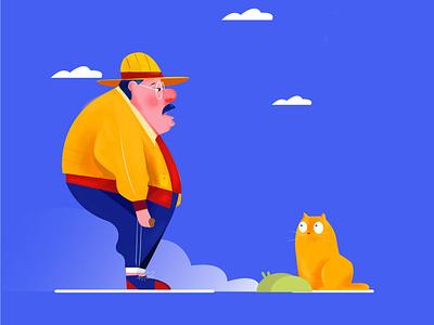 Enjoy Time character time people man wacom ui minimalism drawing illustration design