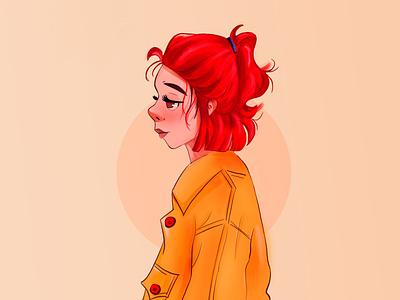 Red hair minimalism drawing digital illustration newstyle redhair illustration digitalart