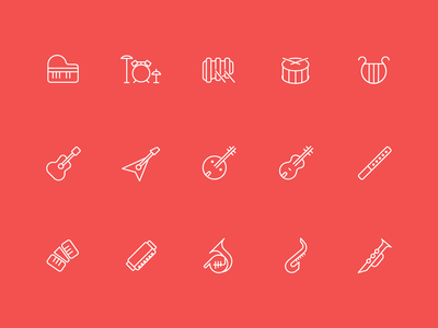 A set of instrument icons flute harmonica accordion drum piano guitar song sing play perform singing musical instruments music vector branding illustration logo icon design ui