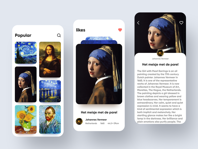 Famous painting application interface concept design_1 starry sky vermeer het meisje met de parel mona lisa art fascinating card special effects mobility interface van gogh painter painting drawing famous painting ux branding design app ui