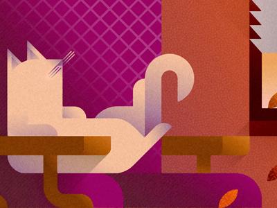 Purple sofa cat