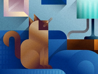 Blue sofa cat