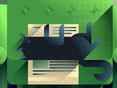 Lime sofa cat