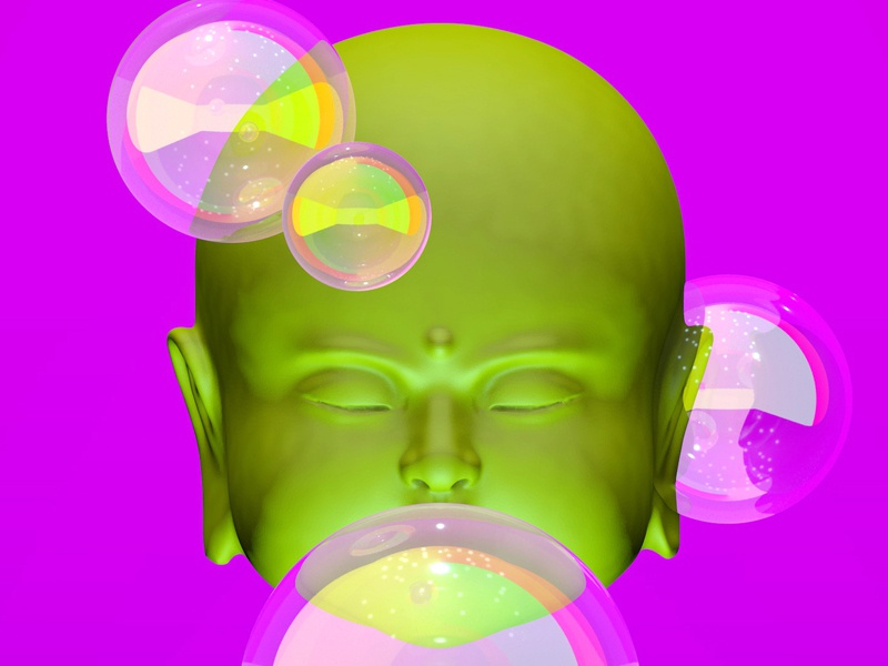 Buddha Head acid sacred buddha illustration render 3d