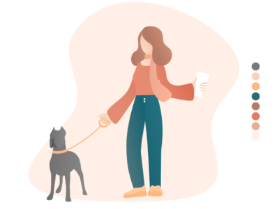 Walking the dog minimalist dog girl autumn color palette simple graphic design illustration