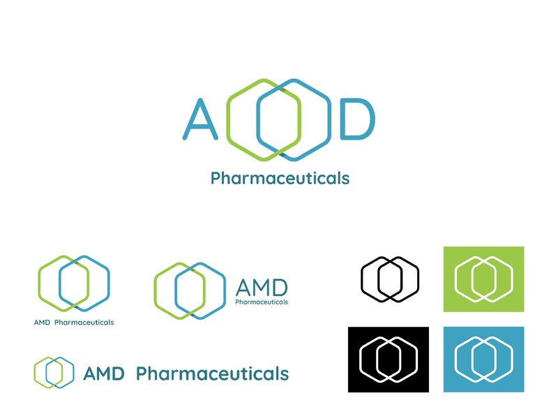 AMD Pharmaceuticals medicine medical logo medical pharmaceuticals green blue logotype logo design vector logo branding illustrator syria graphic design graphic design