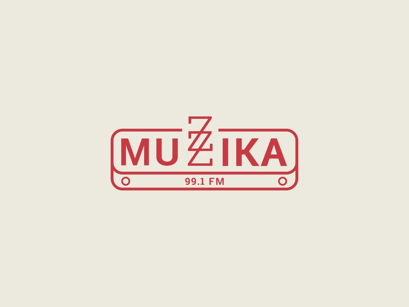 Muzzika Radio - II damascus radio red logotype logodesign vector logo branding music illustrator syria art artistic graphic design graphic design