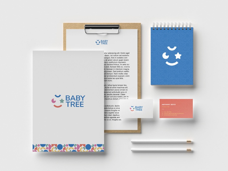 BABY TREE Stationery pattern shape geometric packaging arabic dynamic logo visual identity online shopping kids baby saudi arabia logo branding illustrator graphic design graphic design