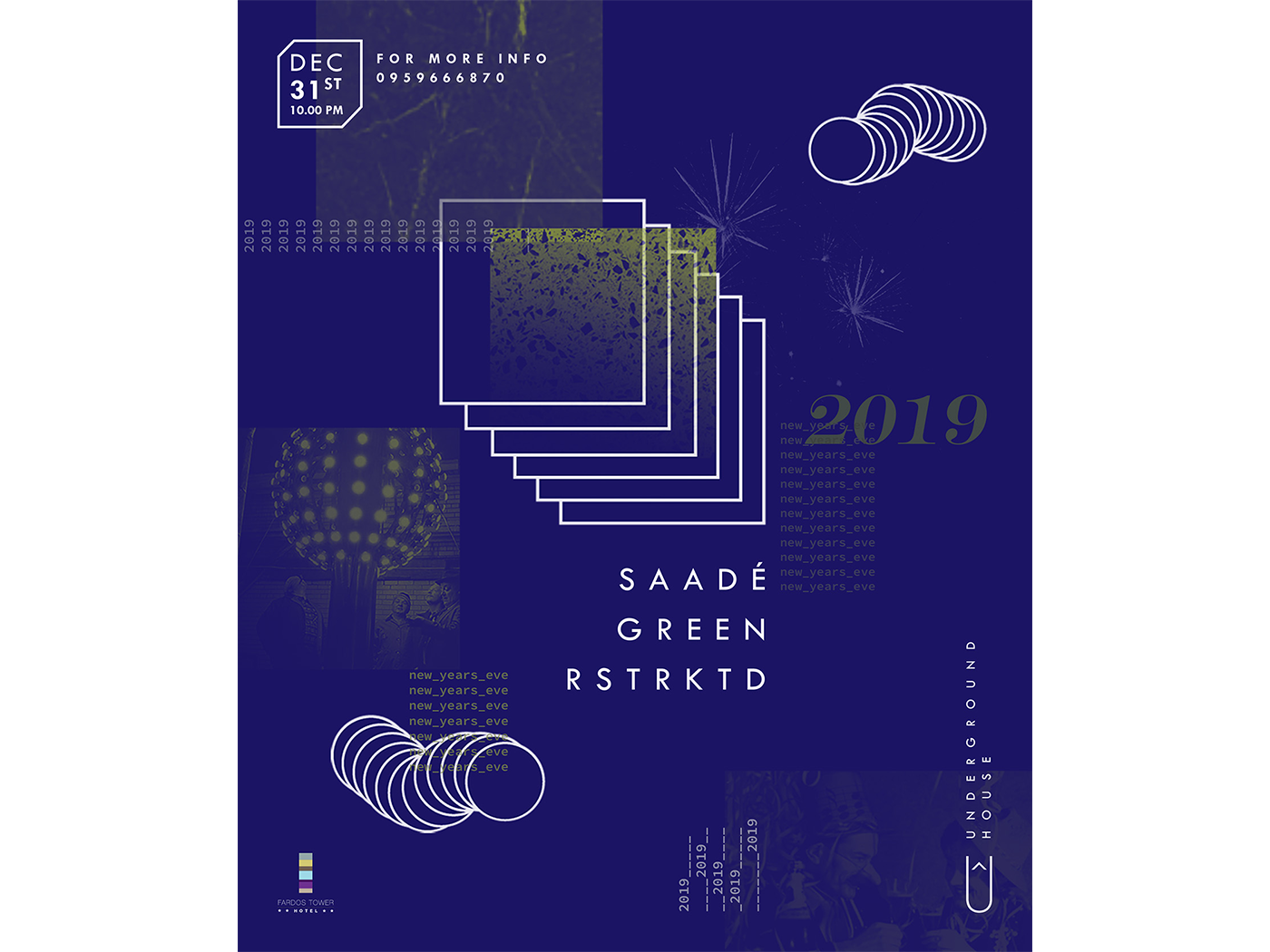 NYE Poster nye new year 2019 techno syria music event poster design graphic graphic design