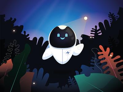 Say hello to my little friend 🤖 design animation nature forest landscape ux  ui character mascot robot illustrator design motion branding illustrator illustration vector