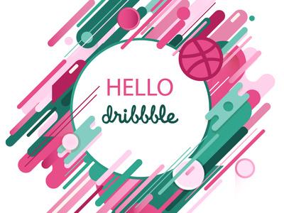 Hello Dribbble hellodribbble illustration freshness flat design logo green