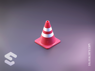 Traffic Cone reflective traffic cone pink dribbble 3d object isometric cinema4d c4d blender graphicdesign icon design solosalsero