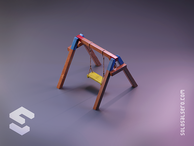 Swing color rope wooden columpio swing 3d object isometric cinema4d c4d blender graphicdesign design solosalsero