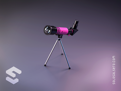 Telescope sky stayhome stars telescope dribbble pink 3d object isometric cinema4d c4d blender graphicdesign icon design solosalsero