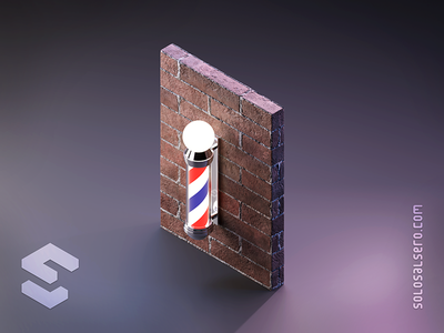 Barber Pole brick wall striped post pole barber 3d object isometric cinema4d c4d blender graphicdesign icon design solosalsero