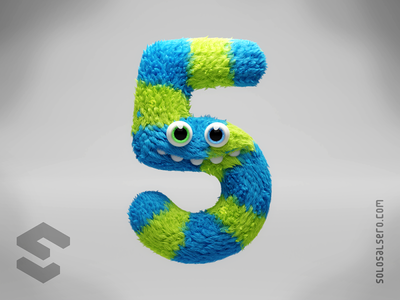 Numbers Murray Monster 3d artist hair furry cute monster number 3d art 3d cinema4d c4d blender design solosalsero