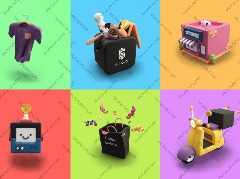 3D Designs for Cashdrop box store building scooter bag robot shirt website web app object 3d cinema4d c4d blender graphicdesign icon design solosalsero