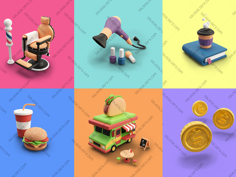 3D Designs for Cashdrop object truck taco coin coffee book barber chair burger cashdrop website web app 3d c4d blender graphicdesign icon design solosalsero