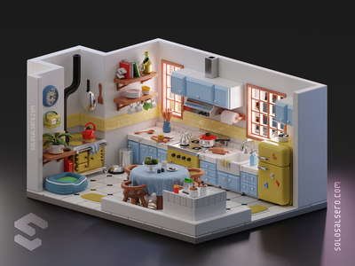 Kitchen blender3d isometric art isometric design 3d art 3d artist tiny cute kitchen room isometric 3d cinema4d c4d blender graphicdesign design solosalsero