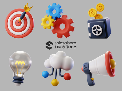 3D Business Icons c4d megaphone cloud lightbulb coins safe gears target design 3d object icon blender solosalsero