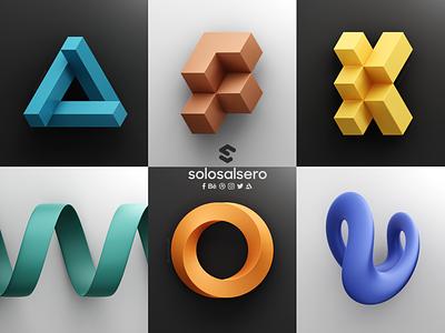 36daysoftype 2021 letter v o n k f shape poster icon c4d branding logo blender design solosalsero