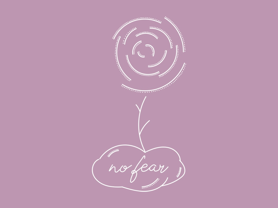 No Fear abstract flower minimalist quote illustration