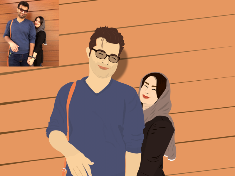 Danial & Mahboub couple love illustration day of love loves day love day sepandarmazgan sepandar mazgan سپندارمذگان