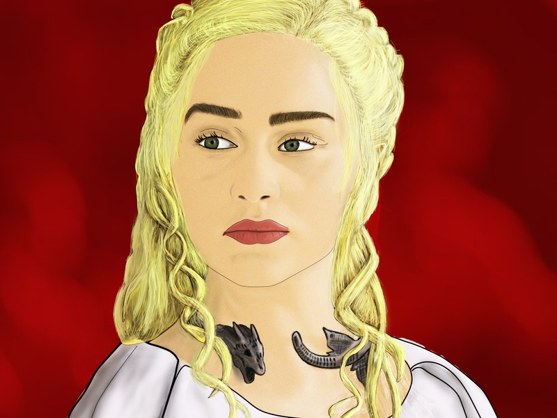 Khaleessi , Mother of Dragons , Mad queen digital painting game of thrones mad queen mother of dragons